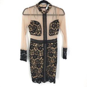 LF Angel Biba Sz 4 US Sheer Mesh Black Lace Dress